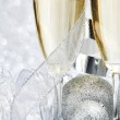 Champagne and decoration — Stock Photo