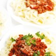 Plates with spaghetti bolognese — Stock Photo #36094479