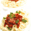 Plates with spaghetti bolognese — Photo