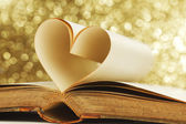 Heart inside a book — Stock Photo