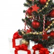 Stock fotografie: Decorated Christmas tree on white background