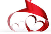 Red heart ribbons — Stock Photo