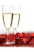 шампанское и подарки — Стоковое фото