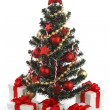 Decorated Christmas tree on white background — 图库照片 #37336399