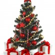 Decorated Christmas tree on white background — Foto de Stock