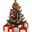 Decorated Christmas tree on white background — 图库照片 #37336491