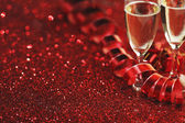 Champagne and gifts — Stock Photo
