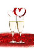 Champagne and valentines day decoration — Stock Photo