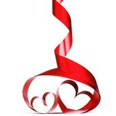 赤いハート リボン — ストック写真