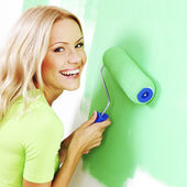 Donna, pittura della parete — Foto Stock