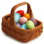 Basket with eater eggs — Stock Photo