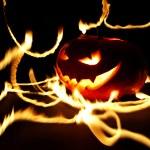 Burning halloween pumpkin — Stock Photo #50728369
