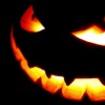 Scary face of Halloween pumpkin — Stock Photo