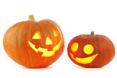 Jack O Lantern halloween pumpkins — Stock Photo