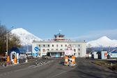 View of Petropavlovsk Kamchatsky airport on background volcano. Russia, Far East, Kamchatka Peninsula — ストック写真