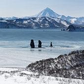 Three Brothers Rocks in Avachinskaya Bay (Kamchatka Peninsula) — Stock Photo