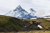 Beauty volcanoes of Kamchatka: Kamen, Kliuchevskoi, Bezymianny — Stock Photo
