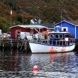 Pier for crab fishing boats and equipment Petty Harbor, Newfoundland, Canada — Stock Photo