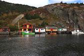 Pesca: banchine, cabine, barche porto di lago quidi vidi, terranova. — Foto Stock
