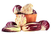 Different sorts Radicchio in bushel and on pile   — Stock Photo