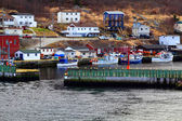 Protective wall and entrance to Petty Harbor. Moored fishing Boats.  — Stock fotografie