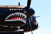 Painting shark teeth on the engine cowlings of the Avro Lancaster — Stock Photo