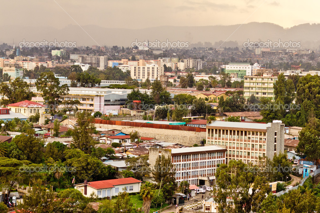 Aerial view of the city of Addis Ababa, showing the densely packed houses — Stock Photo #12606897