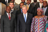 German President with AU Chairperson and Deputy Chairperson — Stock Photo