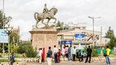 Statue of Ras Makonnen on a horse — Stock Photo