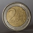 Two euro coin. Low key. — Stock Photo #19601771