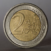 Two euro coin. Low key. — Stock Photo