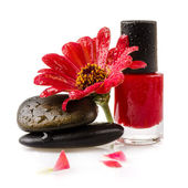 Nail polish with flower on white background — Stock Photo