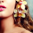 Young beauty portrait with orchid flowers - Stock Photo