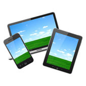 Mobile phone,tablet pc and notebook — Stock Photo