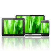 Tablet pc,mobile phone and notebook — Stock Photo