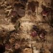 Old music notes with dry roses — Stock Photo #27148349