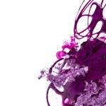Purple nail polish and crushed eye shadow on white background — Stock Photo #27348729