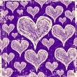 Stock Photo: Purple grunge hearts background