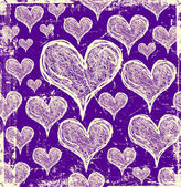 Purple grunge hearts background — 图库照片