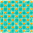 Checkered hearts background — Stock Photo