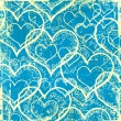 Grunge blue hearts background — Stock Photo