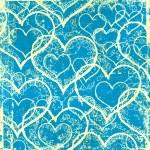 Grunge blue hearts background — Stock Photo