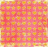 Grunge hjärtan stjärnor i bakgrunden — Stockfoto