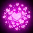 Stock Photo: Purple abstract hearts background