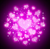 Purple abstract hearts background — Stock Photo