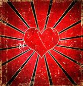 Sfondo cuore rosso grunge — Foto Stock