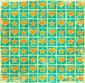 Grunge checkered stars hearts background — Stock Photo
