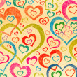 Stock Photo: Naive art hearts background