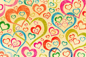 Naive art hearts background — Stock Photo