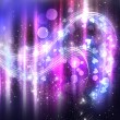 Abstract purple shine background with stars and hearts — Stock Photo